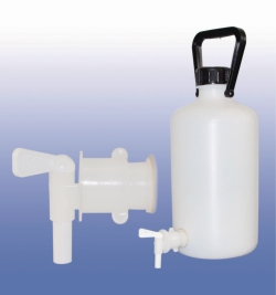 LLG-Aspirator Bottles, narrow neck, HDPE, with stopcock